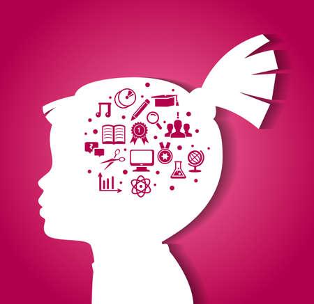 psicologia infantil: ilustración de la cabeza del niño con iconos de educación Vectores