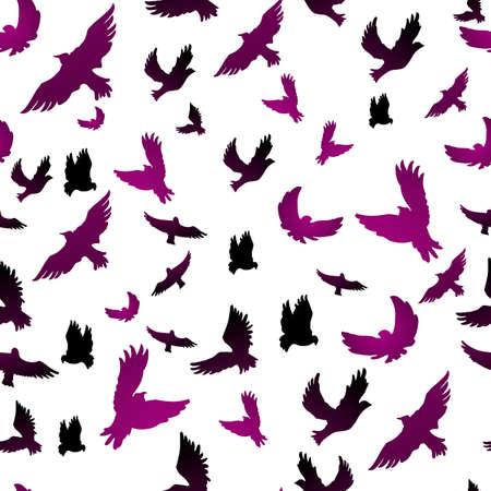 birds  silhouette: Vector illustration of Birds in seamless pattern