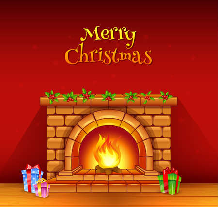 stone fireplace: Vector illustration of Fireplace Illustration