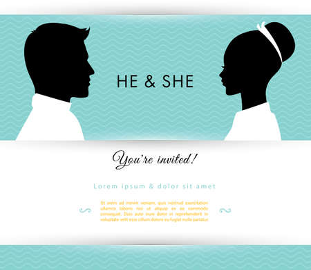he and she: Vector illustration of He & She