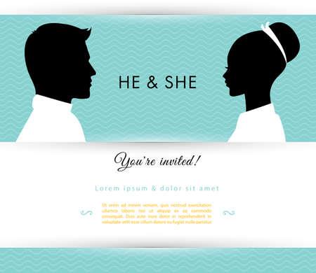 Vector illustration of He & She