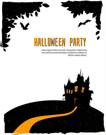 Vector illustration of Happy halloween card with castle Vector