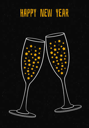 Vector illustration of glass of champagne with the stars Stock Illustratie