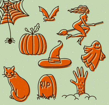 Vector illustration of Halloween doodles Vector
