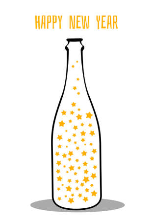 Vector illustration of champagne with the stars Vector