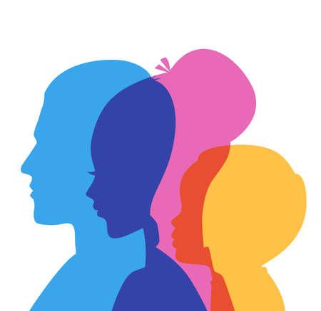 rostro mujer perfil: Ilustraci�n vectorial de los iconos de la cabeza de la familia Vectores