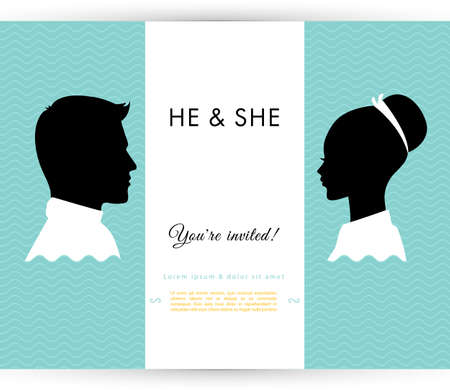 she: Vector illustration of He & She