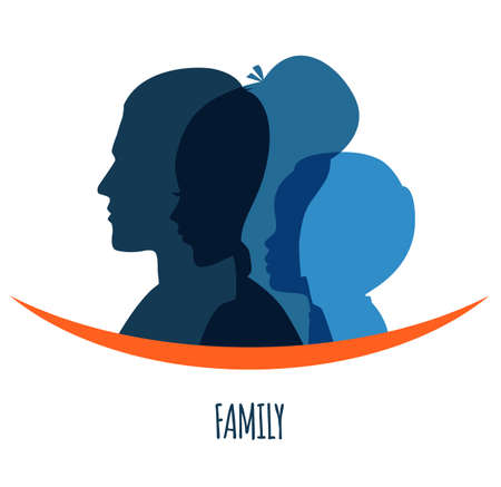 silhouette of woman: Vector illustration of Family icons head