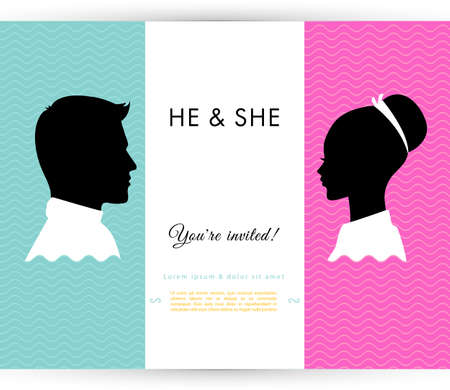 he and she: Vector illustration of He   She Illustration