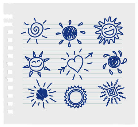Vector illustration of Hand-draw sun set Vector