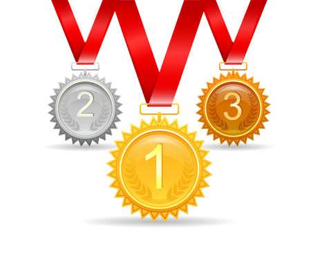 Vector illustration of Three medals for awards