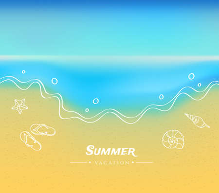 Vector illustration of Summer background with sand and water Vector