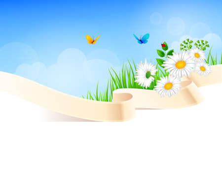 farm land: Vector illustration of Summer background with grass