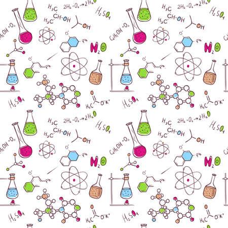 Ilustración vectorial de la mano patrón química sorteo