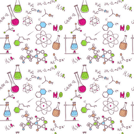 quimica organica: Ilustraci�n vectorial de la mano patr�n qu�mica sorteo