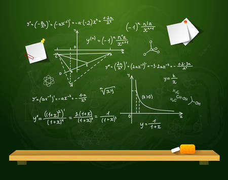 physics background: Vector illustration of Green school board