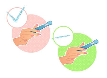prueba de embarazo: Ilustraci�n vectorial de la mano de la mujer sostiene una prueba de embarazo