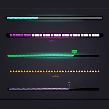 progress bar: Vector illustration of Loading set