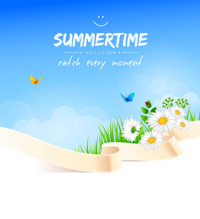 Vector illustration of Summer background with grass Vector