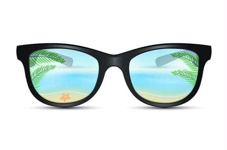 Vector illustration of Summer sunglasses with beach reflection Illustration