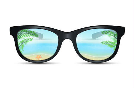 Vector illustration of Summer sunglasses with beach reflection Stock Illustratie