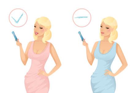 prueba de embarazo: Ilustraci�n vectorial de la mujer la celebraci�n de una prueba de embarazo