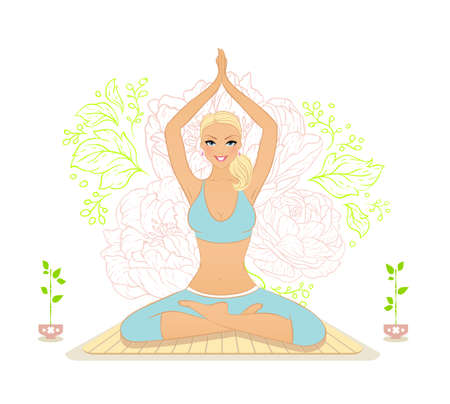 Vector illustration of Beautiful woman doing youga exercises Stock Vector - 26730494