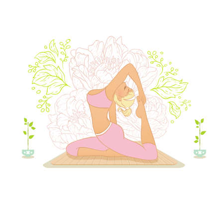 Vector illustration of Beautiful woman doing youga exercises Stock Vector - 26730495