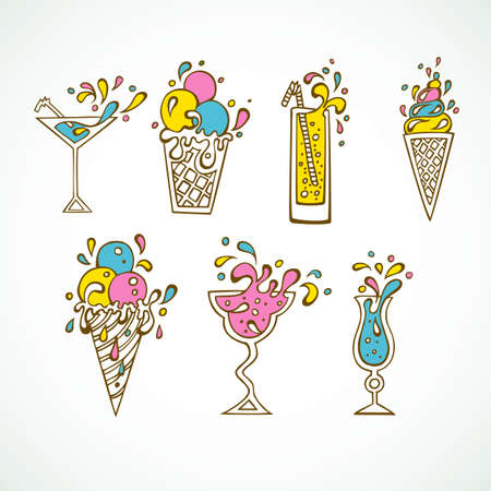 Vector illustration   of Cocktails icons Vector