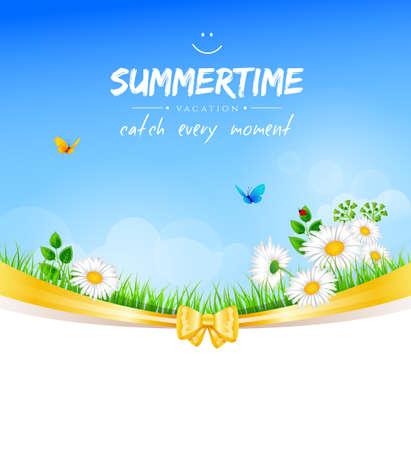 farm land: Vector illustration   of Summer background with grass Illustration