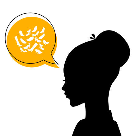 Vector illustration (eps 10) of Womans head with shoes icons Vector