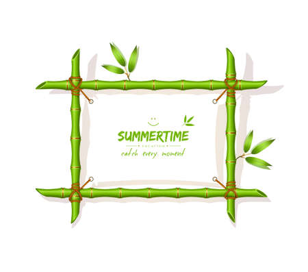 bamboo frame: Vector illustration (eps 10) of Background with green bamboo frame