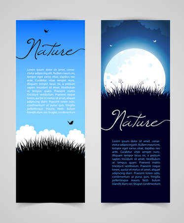 viewpoint: illustration of Nature card with grass Illustration