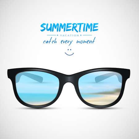 estate: Illustrazione vettoriale (eps 10) di occhiali da sole di estate con la spiaggia di riflessione