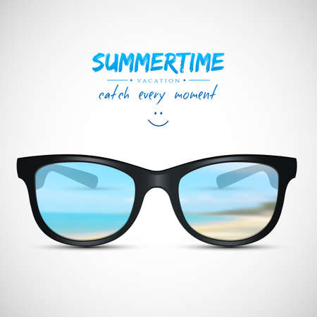 Ilustración vectorial (eps 10) de gafas de sol de verano con reflejo de playa