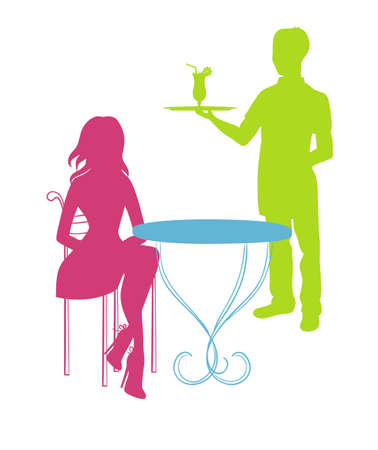 Vector illustration (eps 10) of woman in coffee house Vector