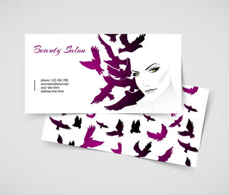Vector illustration (eps 10) of Cards with woman Vector