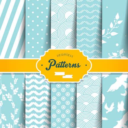 Illustration of Seamless patterns set  イラスト・ベクター素材