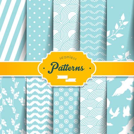 Illustration of Seamless patterns set Stock Illustratie