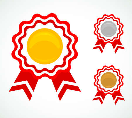 Vector illustration  of Three medals for awards Vector