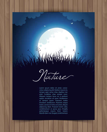 mariposa azul: Ilustración vectorial de tarjeta de la naturaleza con la hierba