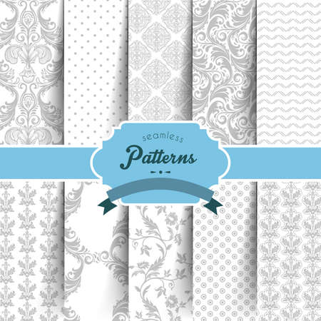 set square: Vector illustration  of Seamless patterns set