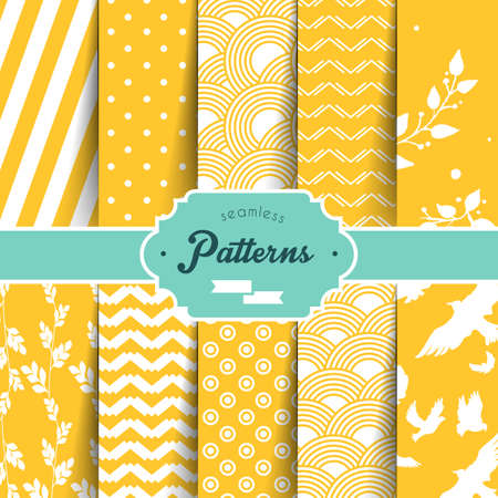 Vector illustration (eps 10) of Seamless patterns set Stok Fotoğraf - 27853422
