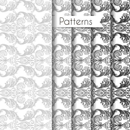 Vector illustration of Seamless patterns set Vector