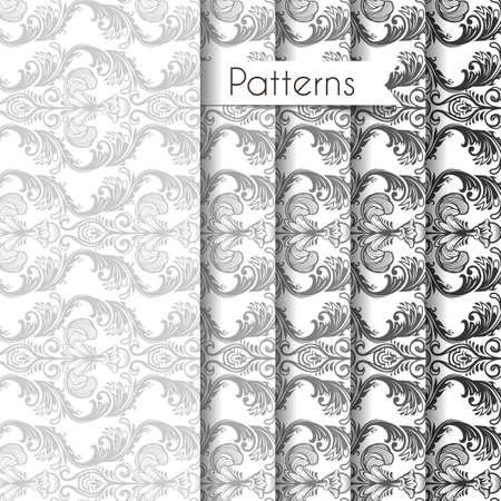 Vector illustration of Seamless patterns set Vector