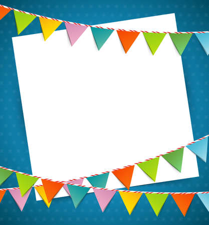 Vector illustration of Bunting party color flags