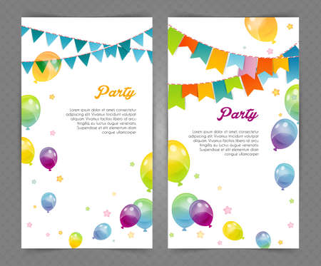 cartoon carnival: Vector illustration of Party banners with flags and ballons Illustration