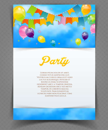 fun day: Vector illustration of Party banner with flags and ballons