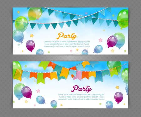 invitación a fiesta: Ilustración del vector de la bandera del partido con banderas y globos Vectores