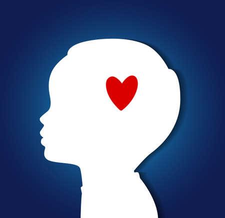 psicologia infantil: Ilustración del vector de la cabeza del niño con el corazón Vectores